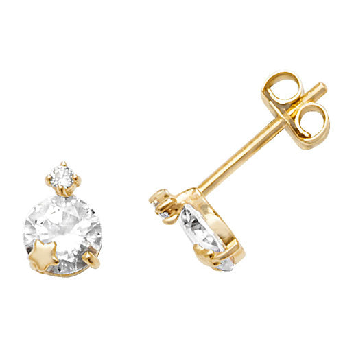 9ct Gold CZ with Star Stud Earrings