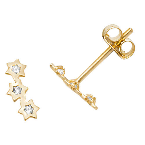 Ear Candy 9ct Gold CZ Three Star Stud Earrings