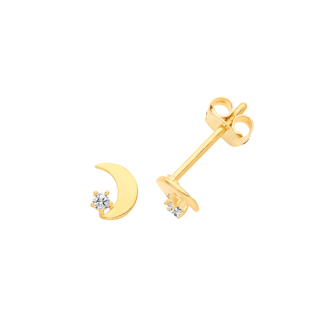 A 9ct yellow gold crescent moon set with cubic zirconia stones, these are a beautiful every day earring that can easily be taken to evening wear. A lovely addition to your jewellery collection.    Product details Product materials : 9ct gold, cubic zirconia