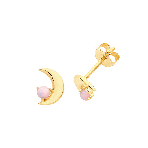 9ct Gold Opalique Crescent Stud Earrings