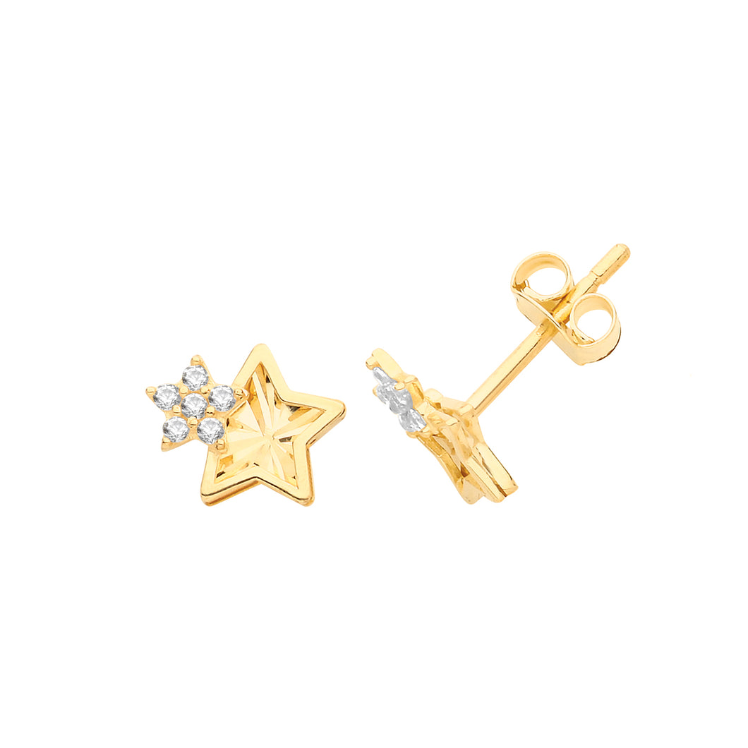 Ear Candy 9ct Gold CZ Two Stars Stud Earrings