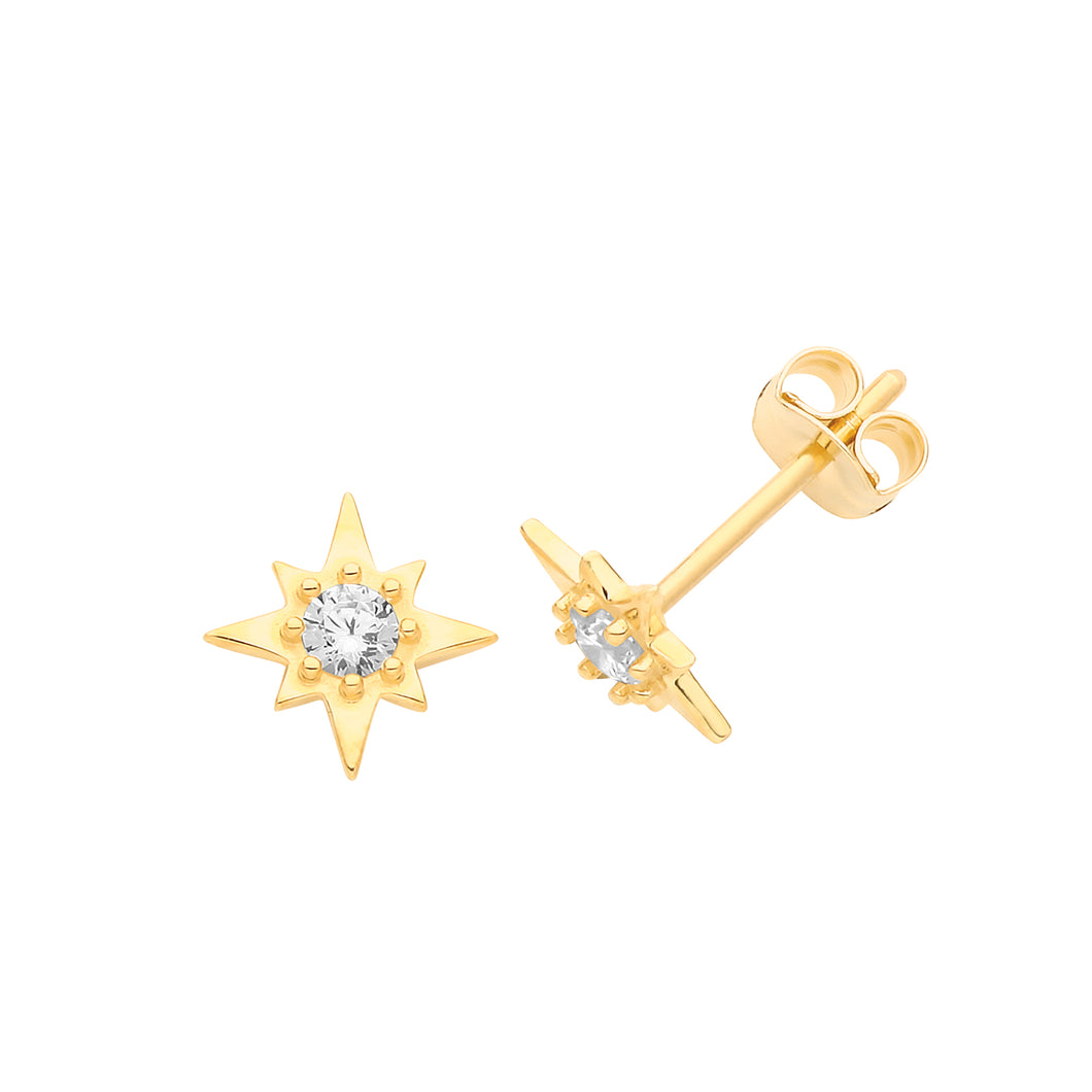 Ear Candy 9ct Gold CZ Compass Star Stud Earrings
