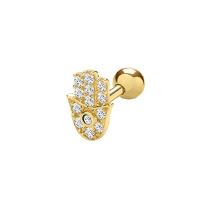 Ear Candy 9ct Gold Hand of Hamsa Cartilage Stud