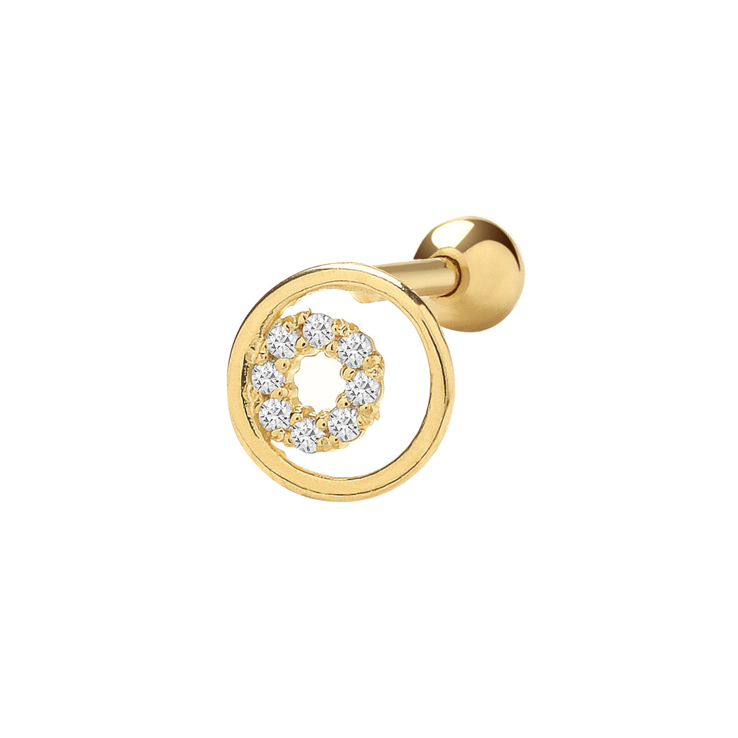 Ear Candy 9ct Gold CZ Circle Cartilage Stud