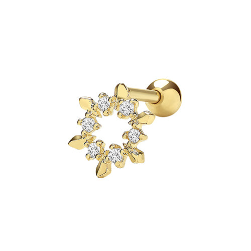 Ear Candy 9ct Gold Simple Snowflake Cartilage Stud