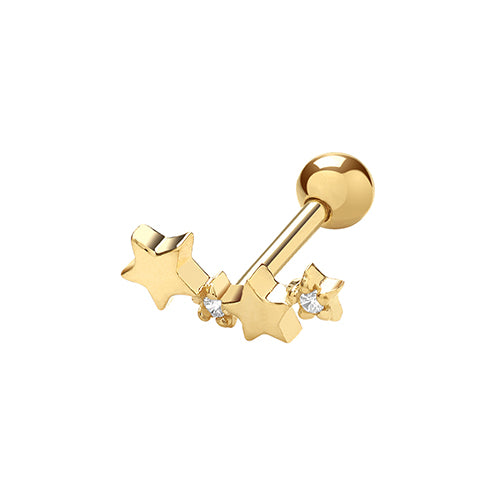 Ear Candy 9ct Gold Star Cluster Cartilage Stud