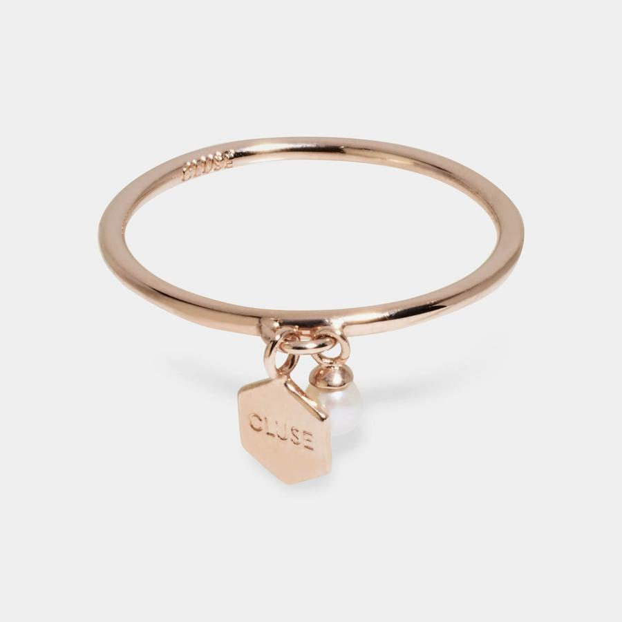 CLUSE Essentielle Rose Gold Hexagon and Pearl Charm Ring - 54