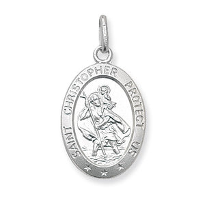 St Christopher Oval Medal Pendant and Chain