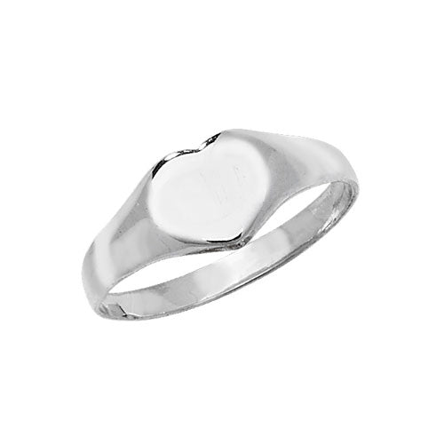 Silver Heart Signet Ring - Small Small