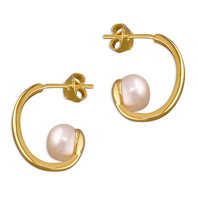 SUNSHINE Pearl Half Hoop Earrings