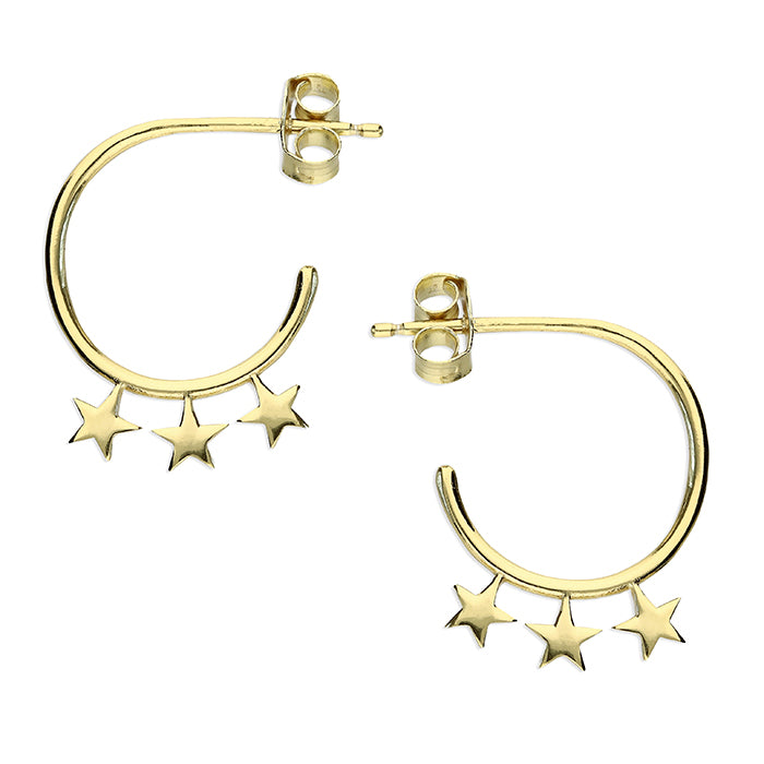 SUNSHINE Three Star Huggie Earrings