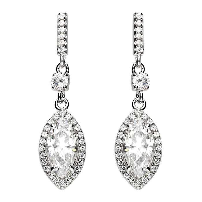 Silver CZ Marquis Cut Drop Earrings