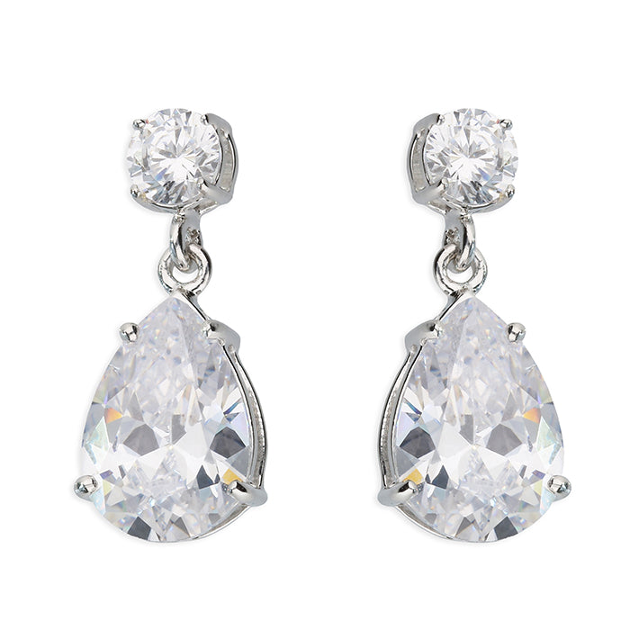 Silver CZ Pear Cut Drop Earrings