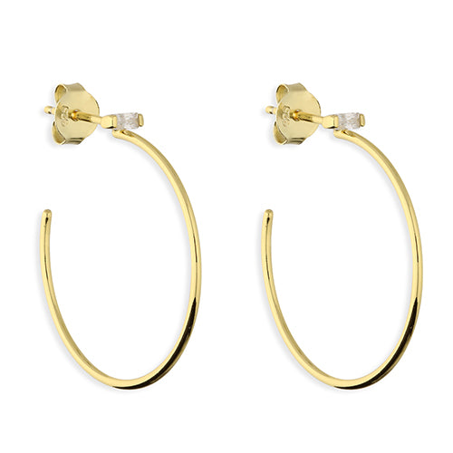 SUNSHINE Baguette CZ Hoop Earrings
