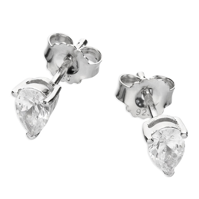 Silver CZ Pear Cut Stud Earrings