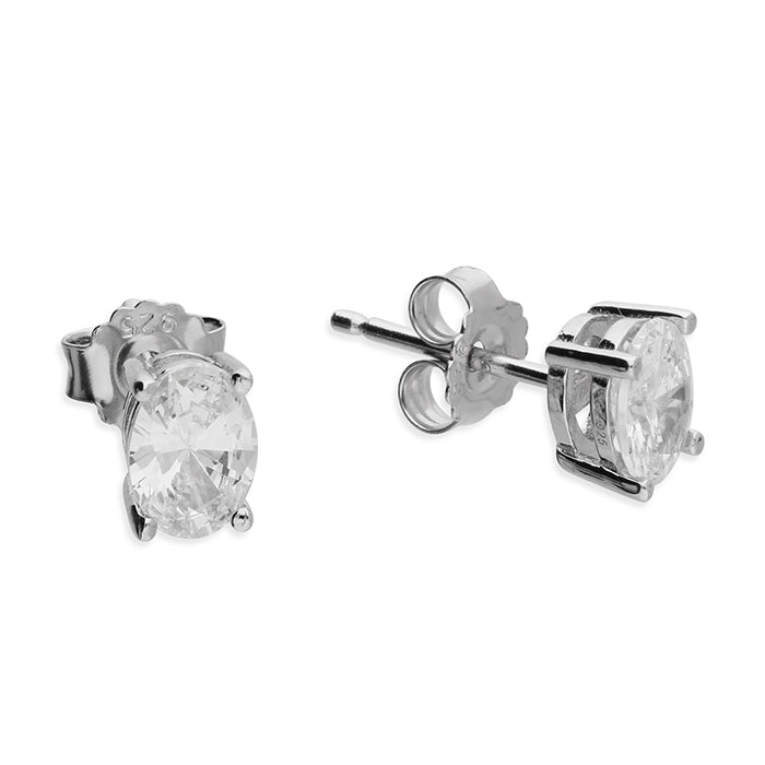 Silver CZ Oval Stud Earrings