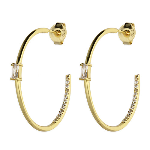 SUNSHINE Baquette CZ Hoop Earrings