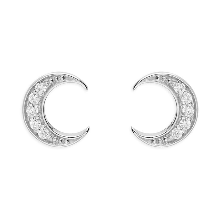 Silver CZ Crecent Stud Earrings