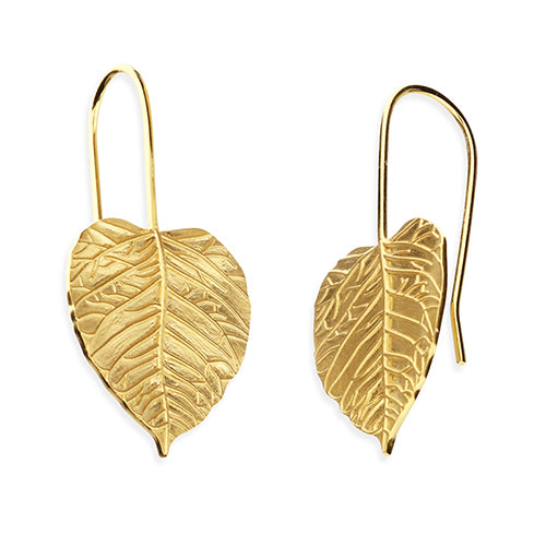 SUNSHINE Wide Leaf Pull Through Earrings