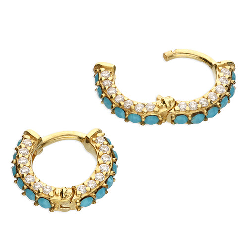 SUNSHINE Turq & CZ Huggie Earrings