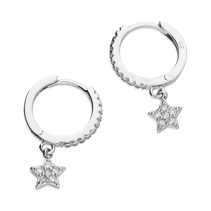 Silver CZ Star Charm Huggie Earrings