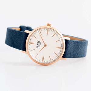 HENRY Regency Suede Prussian Blue 34mm
