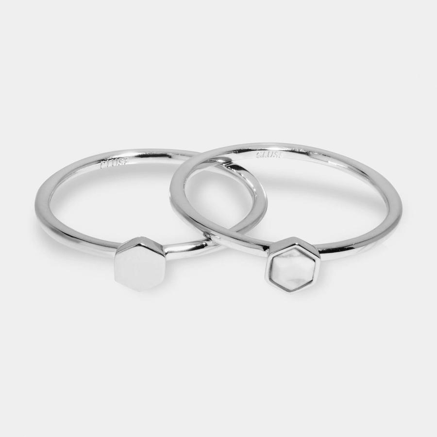CLUSE Idylle Silver Solid And Marble Hexagon Ring Set - 52