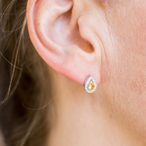 Silver Citrine Pear Halo Earrings