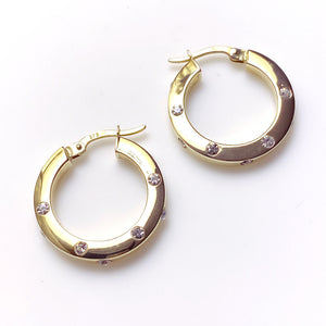 9ct Gold CZ Hoop Earrings