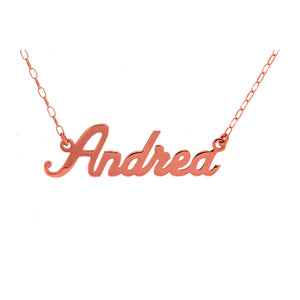 9ct Rose Gold Name Plate Necklace