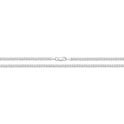 Silver Light Flat Diamond Cut Curb Chain