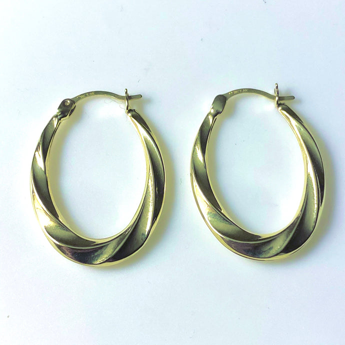 9ct Gold Oval Fluted Creole Hoop Earrings