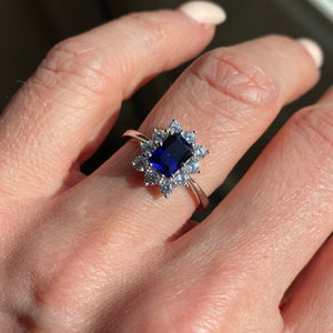 9ct White Gold Created Sapphire & CZ Ring