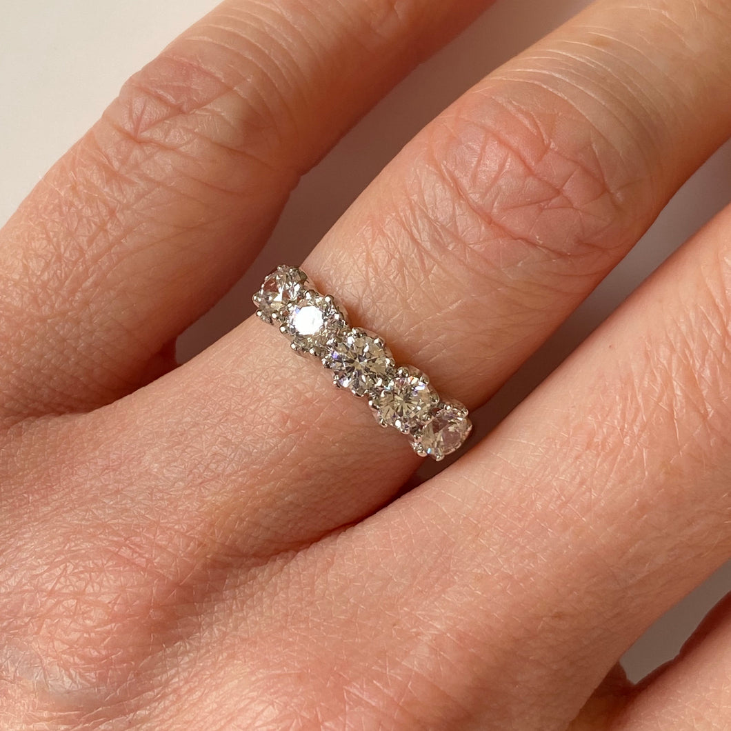 9ct White Gold CZ Five Stone Ring