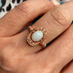 9ct Rose Gold Gem Opal & Seed Pearl Ring