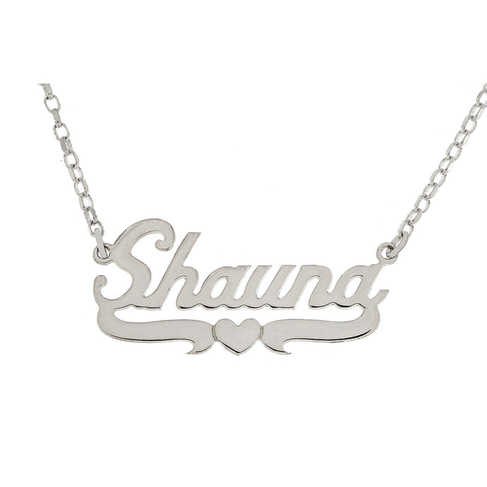 Silver Name Plate Necklace with Centre Heart Underline