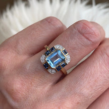 Load image into Gallery viewer, 9ct Gold Blue Topaz, Sapphire & Diamond Ring