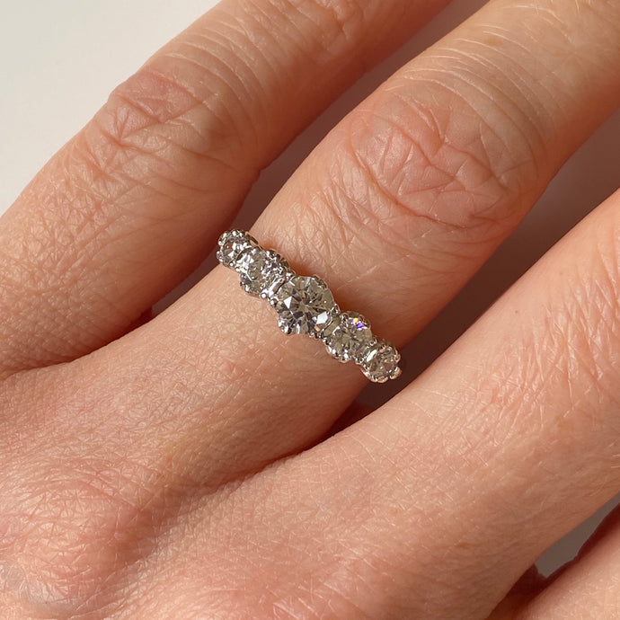 9ct White Gold CZ Graduated Five Stone Ring