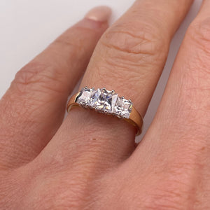 9ct Gold CZ Trilogy Ring - Princess
