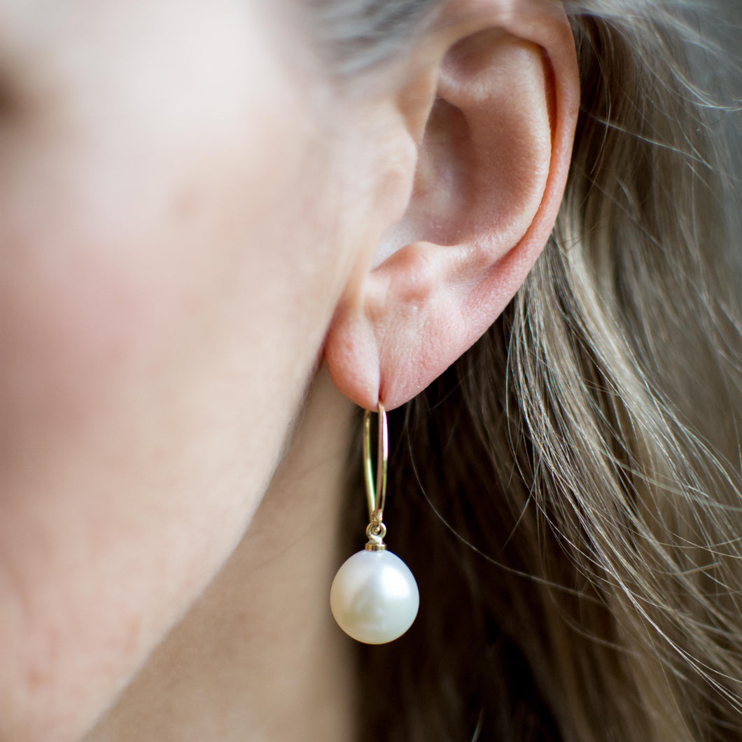 18ct Gold Cultured Freshwater Pearl Drop Earrings