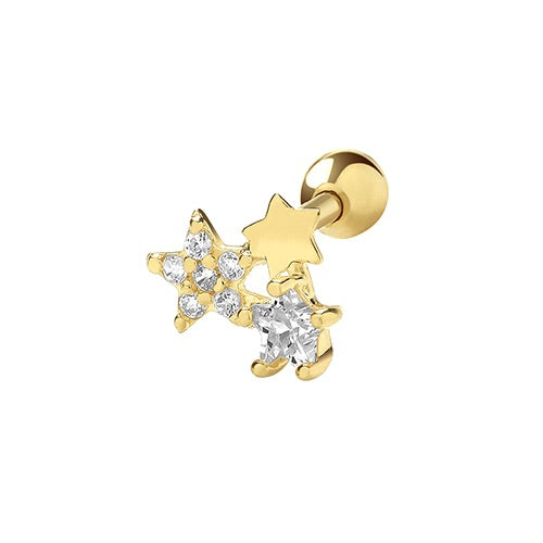 Ear Candy 9ct Gold Star Burst Cartilage Stud