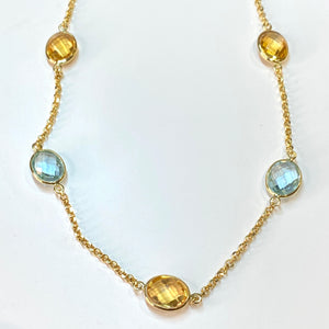 18ct Gold Light Blue Topaz & Citrine Chain Necklace