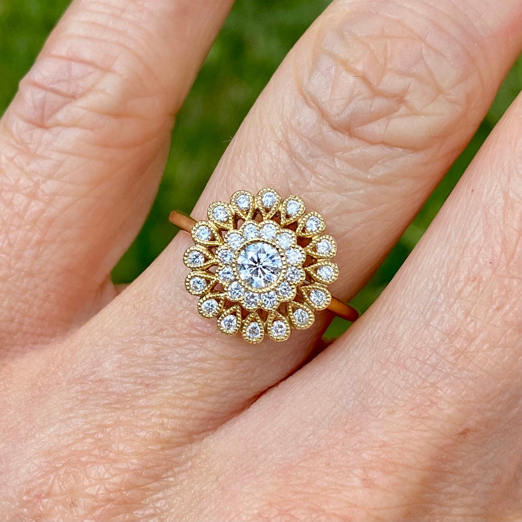 18ct Yellow Gold Cluster Diamond Ring