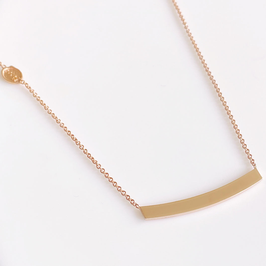 9ct Rose Gold Bar Disc Necklace