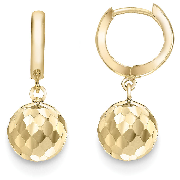 9ct Gold Faceted Ball Hoop Earrings