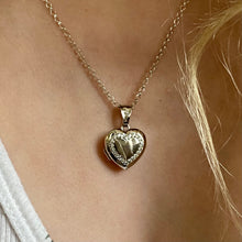 Load image into Gallery viewer, Silver CZ Heart Locket and Chain