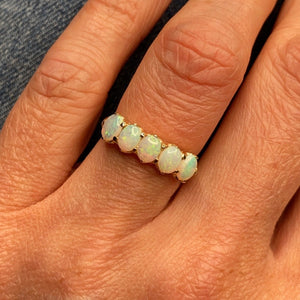 9ct Gold Opal Dress Ring - Five Stone