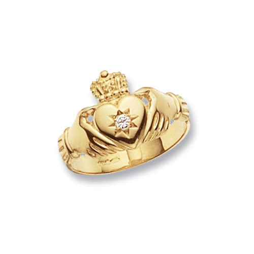 9ct Gold CZ Claddagh Ring