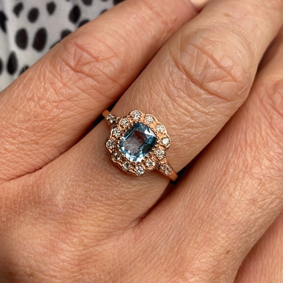 9ct Rose Gold Blue Topaz & Diamond Ring
