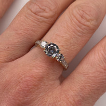 Load image into Gallery viewer, 9ct Gold CZ Trilogy Ring with Pavé